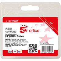 5 Star Office Remanufactured Inkjet Cartridge Page Life Tri-Colour 330pp [HP No.302XL F6U67AE Alternative]