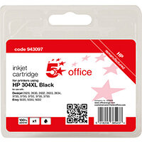 5 Star Office Remanufactured Inkjet Cartridge Page Life Black 300pp [HP No.304XL N9K08AE Alternative]