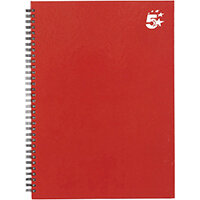5 Star Office Twinbound Hardback A4 140Pg Berry Ref 943466 [Pack 5]