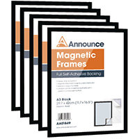 Announce Magnetic Frames A3 Black Pack of 5 AA01850