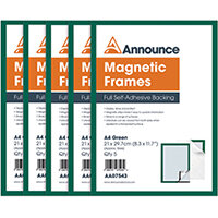 Announce Magnetic Frames A4 Green Pack of 5 AA07543