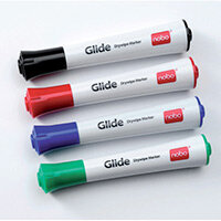 Nobo Glide Drywipe Markers Fine Nib Assorted Pack of 4