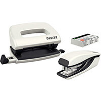 Leitz WOW Mini Stapler and Hole Punch Set Pearl White
