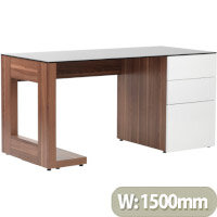 Alphason Sorbonne Home Office Desk Walnut with Black Tempered Glass Worktop & White 3 Drawer Pedestal W1500xD700xH720mm