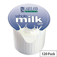 Lakeland Full Fat Milk 12ml Pots UHT Pack of 120 - Long life milk and creamer alternative - Perfect portion for tea and coffee