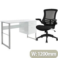 Home Office Bundle Alphason Cabrini Home Office Desk White With Silver Frame W1200xD600xH760mm & Executive High Back Mesh Office Chair In Black With Armrests & Adjustable Seat