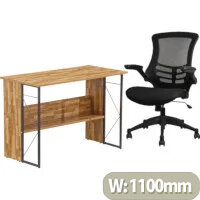 Home Office Bundle Alphason Rhodes Home Office Desk Walnut with Grey Steel Frame W1110xD550xH760mm & Executive High Back Mesh Office Chair in Black with Armrests and Adjustable Seat
