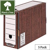 Bankers Box Premium 127mm Transfer File Woodgrain Pack of 5 5305