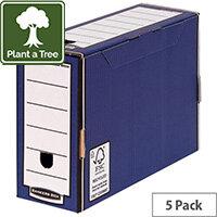 Bankers Box Premium 127mm Transfer File Blue Pack of 5 5905