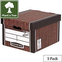 Bankers Box Premium Classic Box Wood Grain Pack of 5 7250513