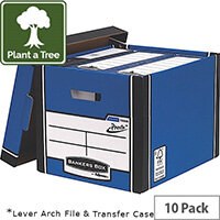 Fellowes Bankers Box Premium 726 Tall Archive Storage Box Blue and White Pack of 10