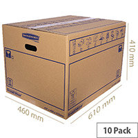 Bankers Box SmoothMove Standard Moving Box WxHxD 460 x 410 x 610mm Pack of 10 Ref 6207501