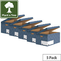 Bankers Box Decor Flip Top Box Blue Pack of 5 4484101