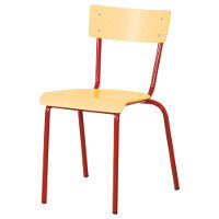 Traditional Plywood Classroom Chair With Waterfall Seat Size 1 260mm Seat Height 3-4 Years Red Steel Leg