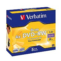 Verbatim DVD+RW Branded Jewel Case 1.4GB 4x (Pack of 5) Coloured 20 x 5 Pack
