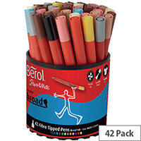Berol Colourbroad Pens Assorted Water Based Ink Tub of 42 CBT S0375970