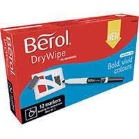 Berol Drywipe Pen Broad Black Pack of 12 1984894