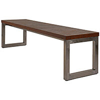 Frovi BLOCK STEEL RUSTIC Bench Seat W1600mm For 1800mm Table With Raw Steel Hoop Leg Frame & Rust Top W1600xD400xH400mm