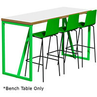 Frovi BLOCK STEEL COLOUR Medium High Poseur Bench Table W1900xD700xH1050mm Bespoke Colour Top & Edge With RAL Painted Hoop Leg Frame