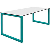 Frovi BLOCK STEEL Outdoor White Top & Black Edge Bench Table With Hoop Leg Frame W2200xD800xH730mm