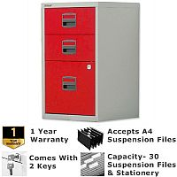1 Filing & 2 Stationery Drawer A4 Steel Filing Cabinet Lockable Grey & Red Bisley PFA Home Filers