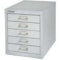 Bisley Multi-Drawer Cabinet 12 inches 5 Drawer Non-Locking Silver 12/5