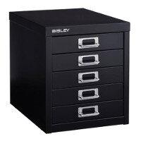 Bisley Multi-Drawer Cabinet 12 inches 5 Drawer Non-Locking Black 12/5