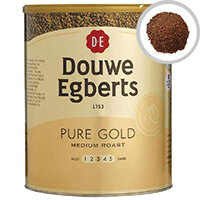 Douwe Egberts Pure Gold Continental Instant Coffee 750g Tin Pack of 1 - Pure Gold for a rich and aromatic cup of coffee - Resealable catering tin locks in freshness