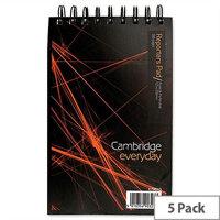 Cambridge Headbound Wirebound Notebook 200 x 125 Ruled 300 Pages Pack 5