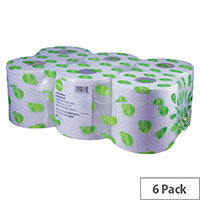 Maxima Green 2 Ply Blue Centrefeed Paper Hand Wiper Rolls Each 150m (6 Rolls)