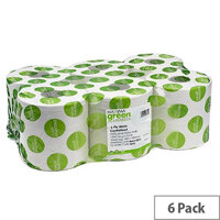 Maxima Green 2 Ply White Centrefeed Paper Hand Wiper Rolls Each 150m (6 Rolls)