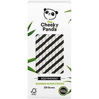 Cheeky Panda Bamboo Paper Straw Black Stripes Pack of 250 0111129