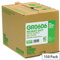 The Green Sack 50L White Swing Bin Liners in Dispenser Pack of 150 VHPGR0606