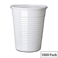 MyCafe Budget Plastic Disposable Drinking Cups 7oz/200ml White [Pack of 1000]