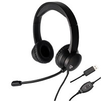 THRONMAX THX-20 USB Headset for Mac and Windows, USB, Boom Microphone, Padded Headphones, Adjustable Headband, Remote Control - Ideal for Teams, Skype, Chat, Gaming, Music - Colour: Black