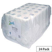 2Work Kitchen Paper Tissue Towel Rolls Pack of 12x2 (24 Kitchen Rolls in Total) CT73665