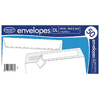 DL White Peel and Seal Envelopes 50 Pack of 20 C504