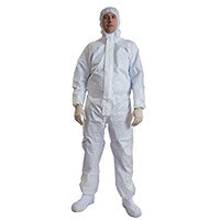 COVERALL OPTIPRO TECH-ULTRA TYPE 5/6 C/W KNITTED CUFF, THUMB LOOP AND ELASTICATED ANKLES, MEDIUM, WHITE