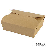 No. 5 Disposable Brown Kraft Food Cartons 1050ml 15.2x12.1x5cm Pack of 150