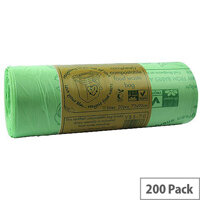 140L Completely Compostable Bin Bags. 200 Sacks (10 Rolls Per Pack - 20 Sacks Per Roll). Ideal For Any Schools, Colleges, Offices, Homes & More.