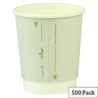 Compostable 8oz/250ml Disposable Double Wall Compostable Coffee Cups Hot Drink Cups White Pack of 500