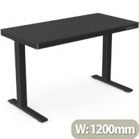 EPIC Electric Height Adjustable Rectangular Home Office Sit Stand Desk W1202xD602xH720-1210mm Black Top & Frame