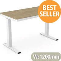 EPIC Electric Height Adjustable Rectangular Home Office Sit Stand Desk W1202xD602xH720-1210mm Oak Top & White Frame