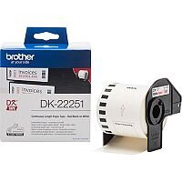 Brother DK-22251 Continuous Paper Label Roll Black and Red on White 62mm