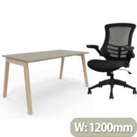 Nova Wood Home Office Desk Grey Desktop & Solid Ash Legs W1200xD700mm & Executive High Back Mesh OP Office Chair - Stylish Design & Great Comfort
