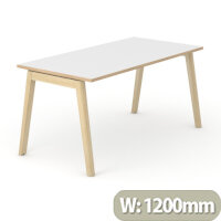 Nova Wood Home Office Desk White Desktop with Oak Edging & Solid Ash Legs W1200xD700mm