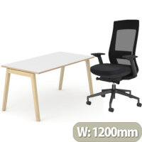 Nova Wood Home Office Desk White Desktop with Oak Edging & Solid Ash Legs W1200xD700mm & X.22 Posture Office Chair with Unique Mesh Back And Adjustable Lumbar Support Black
