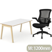 Nova Wood Home Office Desk White Desktop with Oak Edging & Solid Ash Legs W1200xD700mm & Executive High Back Mesh OP Office Chair - Stylish Design & Great Comfort
