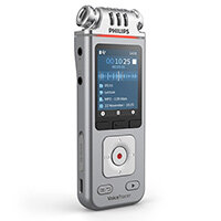 Philips DVT4110 Voice Tracer for Lectures & Interviews 8GB - Stereo, 3 x Mic, Rechargeable Battery, Large Colour LCD, Micro SD Slot, Records in MP3 and PCM Format, Free App for Remote Control and File Sharing