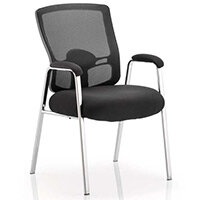 Portland Boardroom & Visitor Straight Leg Chair Black Fabric Black Mesh Back With Arms